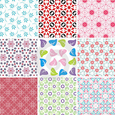 Set of different seamless pattern