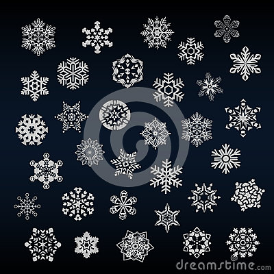 Set of different snoflakes vector