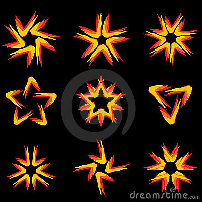 Set of different stars icons #9