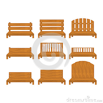 Set of different types of wooden benche icon Vector Illustration
