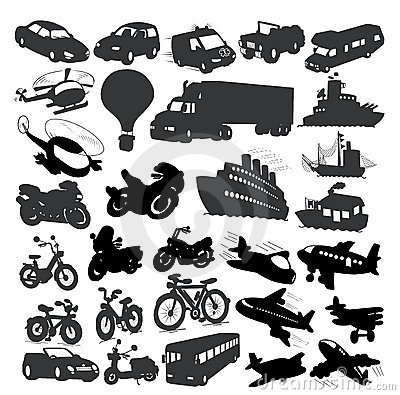 Set of different vehicles