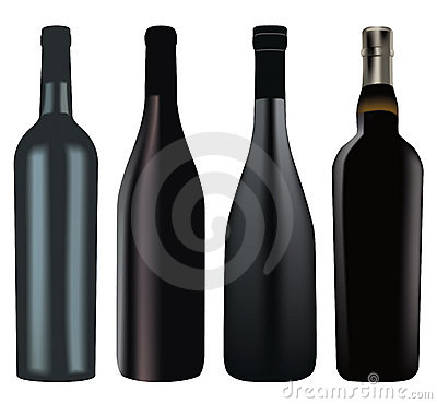 Set of different wine bottles