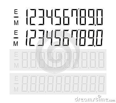 Set of digital number