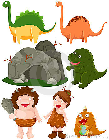 Set of dinosaurs and caveman