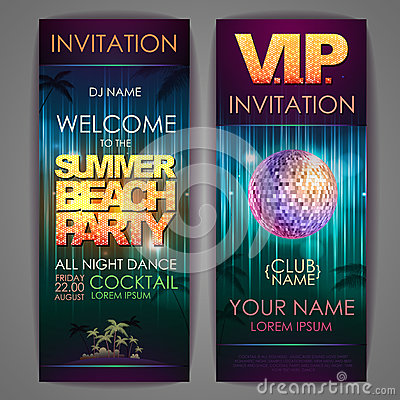 Set of disco background banners. Summer beach party Vector Illustration
