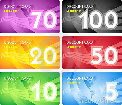 Set of discount card templates