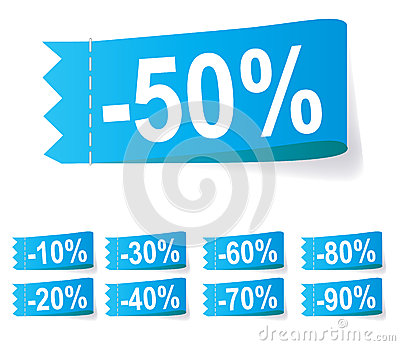 Set of discount labels. Vector