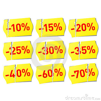 Set of discount stickers
