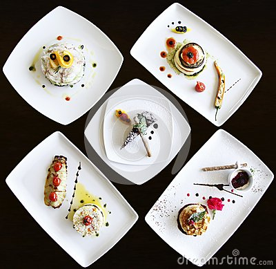 Set of dishes prepared in a luxury restaurant