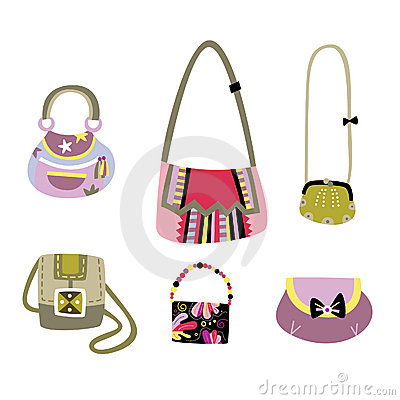Set of diverse handbags