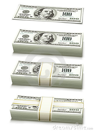 Set of dollar bank notes packed money