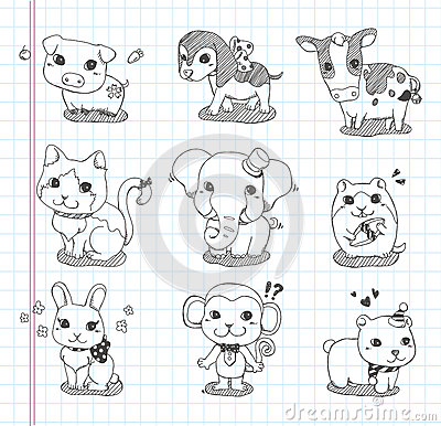 Set of doodle animal icons