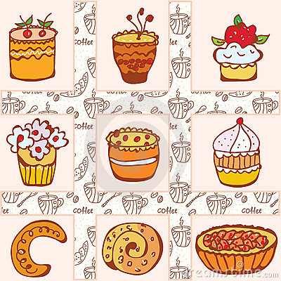 Set of doodle cakes