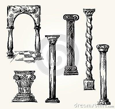 Set of doodle columns.