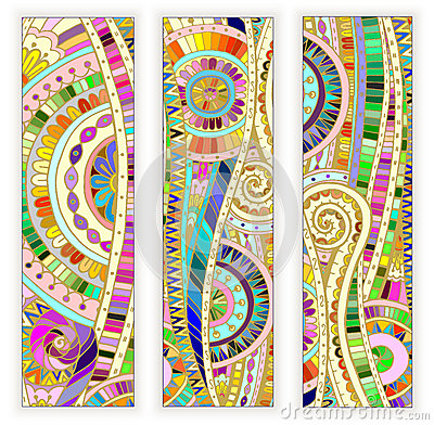 ... Doodle Ethnic Cards On Wood Background Stock Vector - Image: 50726354