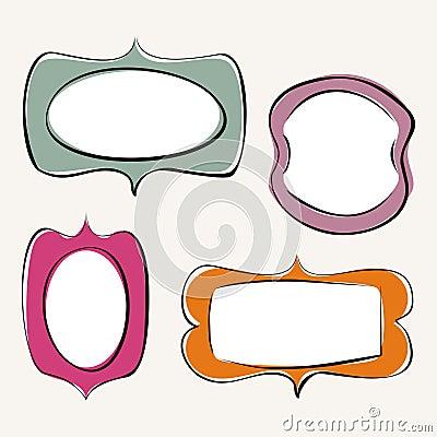 Set of doodle, hand drawn frames