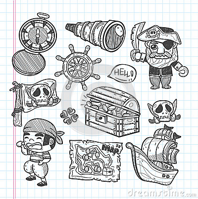 Set of doodle pirate icons