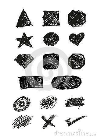 Set of Doodle Shapes Isolated Vector Illustration