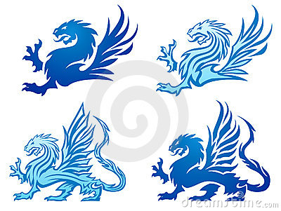 Set of dragon silhouettes