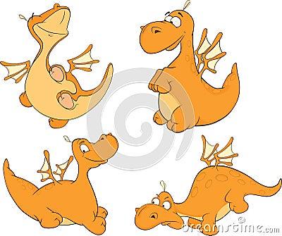 Set of dragons cartoon
