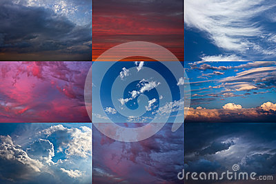 Set of dramatic sky