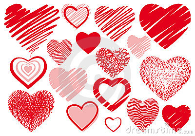 Set drawings heart Vector Illustration
