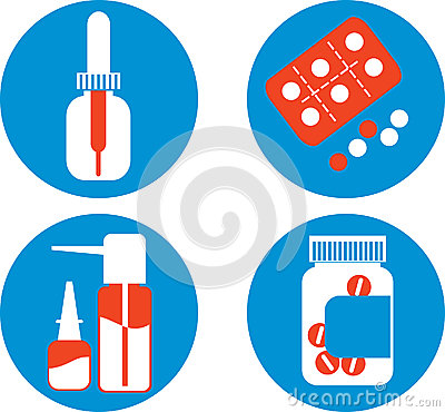 Set of drawings with medicines