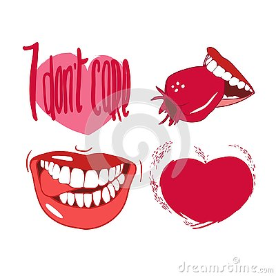 Set of drawings in vector, red, smiles, lips, hearts, for Valentine`s Day Stock Photo