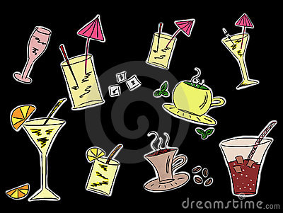 Set of drinks drawings