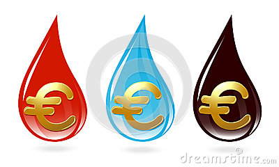 Set of drops with euro sign
