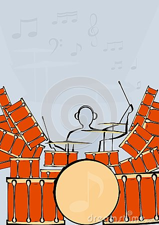 A set of drums with drummer