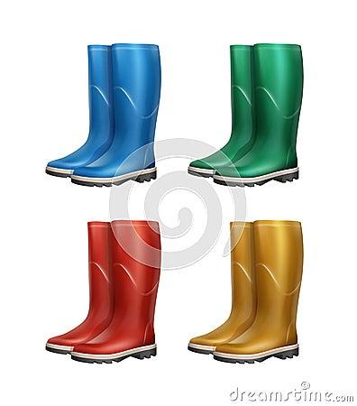 Set of dubber boots Vector Illustration