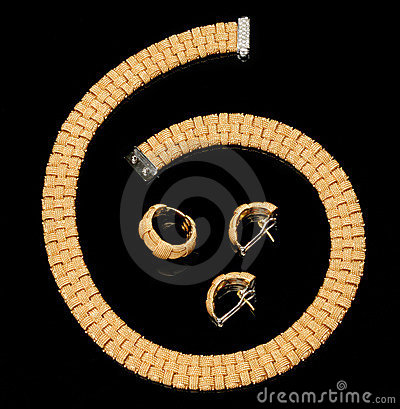Set of earrings, ring and golden bracelet