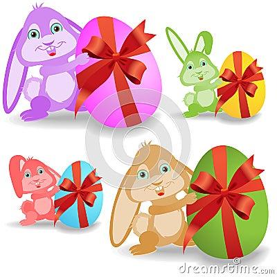 Set of easter bunnies