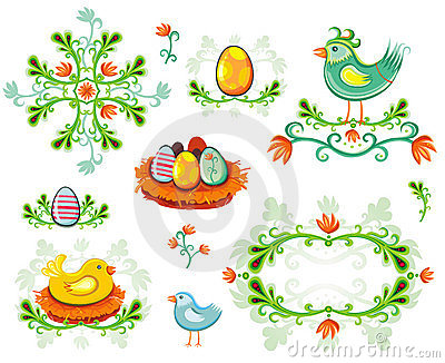 Set of Easter design elements