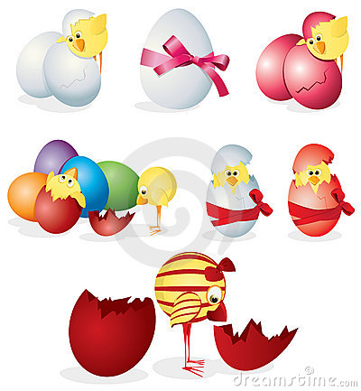Set of easter eggs and chicks