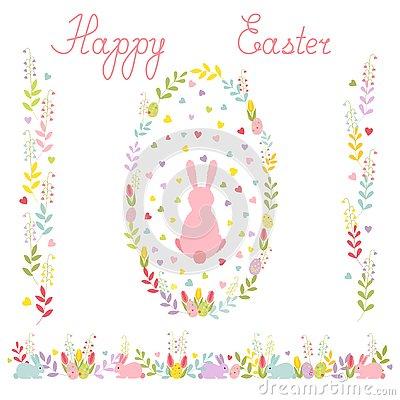 Set of Easter wreath with a cartoon rabbit ,horizontal border of tulips and eggs, two vertical ornaments. vector . Vector Illustration