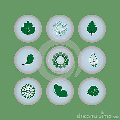 Set of eco icons buttons