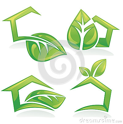 set of ecological houses and homes, symbols, signs