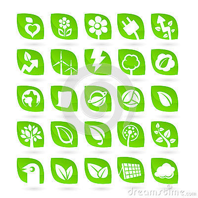 Set of Ecology - Green - Renewal Energy icons