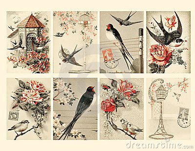 Set of Eight Vintage Style Bird Tags