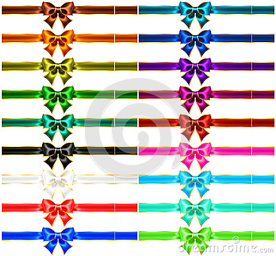 Set of eighteen holiday bows with gold edging and
