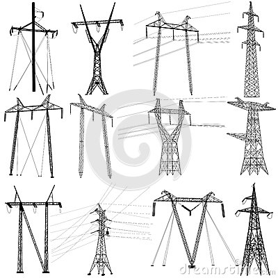 Free Set Electricity Transmission Power Lines. Vector Stock Image - 62830171