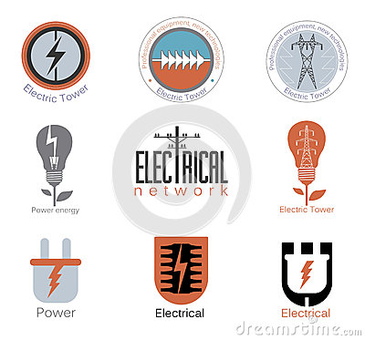 Free Set Electricity Vector Logo, Label. Stock Images - 60766324