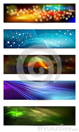 Set of elegant iridescent banners.