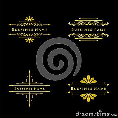 Set of Elegant retro flourish decor. Retro Vintage Insignias or Logotypes. Vector design elements, business signs, logos, label Vector Illustration