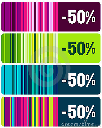 Set of elegant striped sales tags