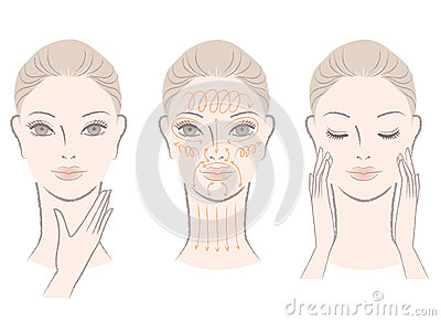 Set of elegant woman massaging her face and neck
