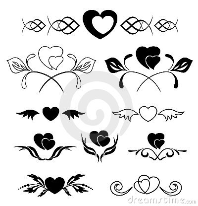 Set of elements - heart and flora - vector