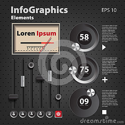 Set of elements for infographics in UI style